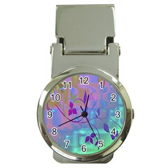 Floral Multicolor Money Clip With Watch
