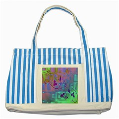 Floral Multicolor Blue Striped Tote Bag