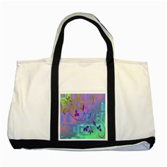 Floral Multicolor Two Toned Tote Bag