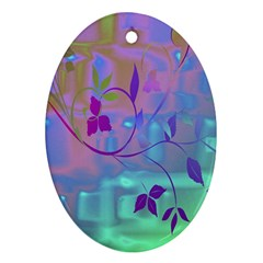 Floral Multicolor Oval Ornament (Two Sides)