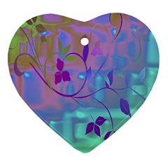 Floral Multicolor Heart Ornament (Two Sides)