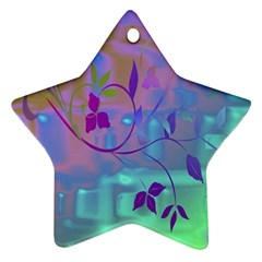 Floral Multicolor Star Ornament (Two Sides)