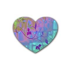 Floral Multicolor Drink Coasters (heart)