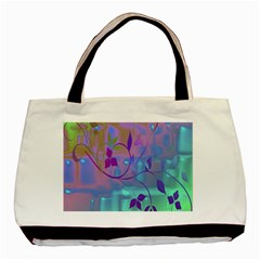Floral Multicolor Twin-sided Black Tote Bag