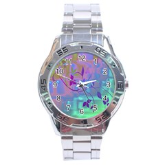 Floral Multicolor Stainless Steel Watch