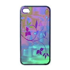 Floral Multicolor Apple iPhone 4 Case (Black)