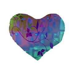 Floral Multicolor 16  Premium Heart Shape Cushion