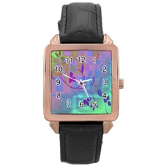 Floral Multicolor Rose Gold Leather Watch