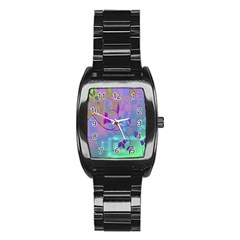 Floral Multicolor Stainless Steel Barrel Watch