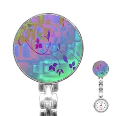 Floral Multicolor Stainless Steel Nurses Watch