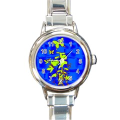 Butterfly blue/green Round Italian Charm Watch