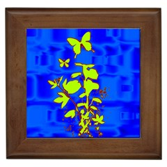 Butterfly blue/green Framed Ceramic Tile