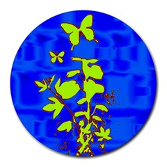 Butterfly Blue/green 8  Mouse Pad (round)