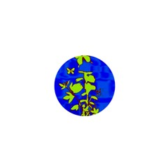 Butterfly blue/green 1  Mini Button Magnet