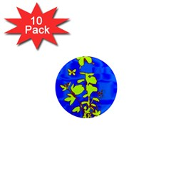 Butterfly Blue/green 1  Mini Button Magnet (10 Pack)