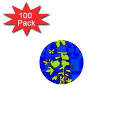 Butterfly blue/green 1  Mini Button (100 pack)