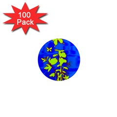 Butterfly blue/green 1  Mini Button Magnet (100 pack)