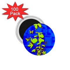 Butterfly blue/green 1.75  Button Magnet (100 pack)
