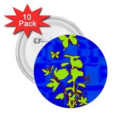 Butterfly blue/green 2.25  Button (10 pack)
