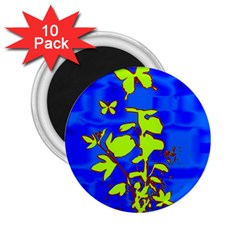 Butterfly blue/green 2.25  Button Magnet (10 pack)