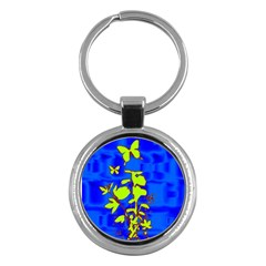 Butterfly Blue/green Key Chain (round)