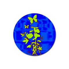 Butterfly blue/green Drink Coasters 4 Pack (Round)