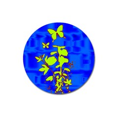 Butterfly blue/green Magnet 3  (Round)