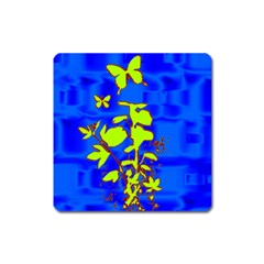 Butterfly blue/green Magnet (Square)