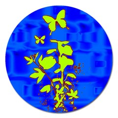 Butterfly blue/green Magnet 5  (Round)