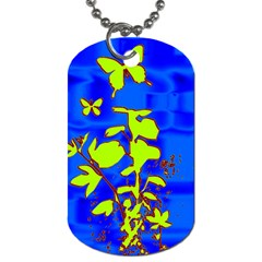 Butterfly blue/green Dog Tag (One Sided)