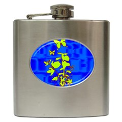 Butterfly blue/green Hip Flask