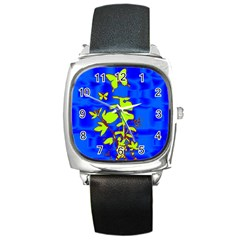 Butterfly Blue/green Square Leather Watch