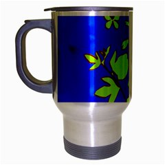 Butterfly blue/green Travel Mug (Silver Gray)