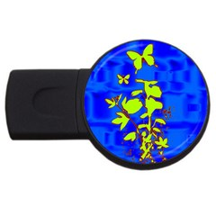 Butterfly blue/green 4GB USB Flash Drive (Round)