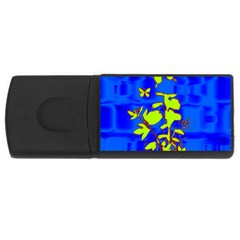 Butterfly blue/green 4GB USB Flash Drive (Rectangle)