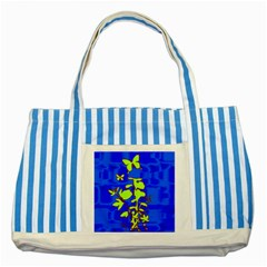 Butterfly blue/green Blue Striped Tote Bag