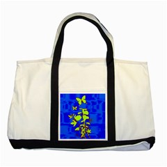 Butterfly blue/green Two Toned Tote Bag