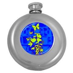 Butterfly blue/green Hip Flask (Round)