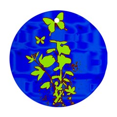 Butterfly blue/green Round Ornament (Two Sides)