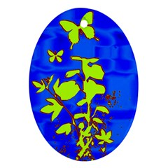 Butterfly Blue/green Oval Ornament (two Sides)