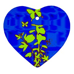 Butterfly blue/green Heart Ornament (Two Sides)