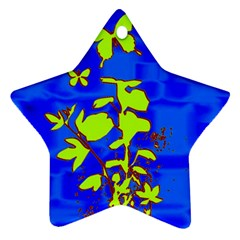 Butterfly blue/green Star Ornament (Two Sides)