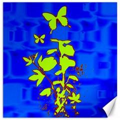 Butterfly Blue/green Canvas 12  X 12  (unframed)