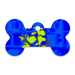 Butterfly blue/green Dog Tag Bone (Two Sided)