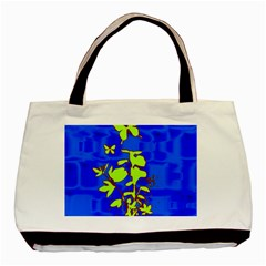 Butterfly blue/green Twin-sided Black Tote Bag