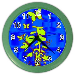 Butterfly blue/green Wall Clock (Color)