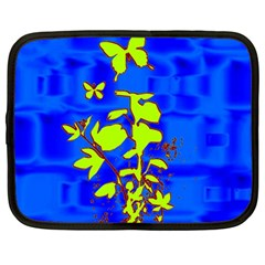 Butterfly blue/green Netbook Sleeve (Large)