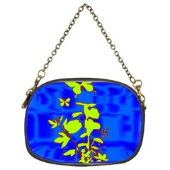 Butterfly Blue/green Chain Purse (two Sided)