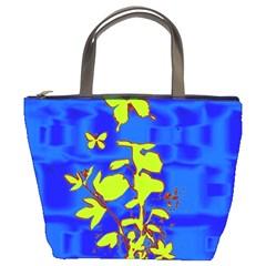 Butterfly Blue/green Bucket Handbag