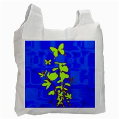 Butterfly blue/green Recycle Bag (One Side)